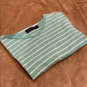 Polo by Ralph Lauren Teal Stripe V neck